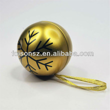 Christmas metallic gold color 70g tea packaging round ball tin box for promotion