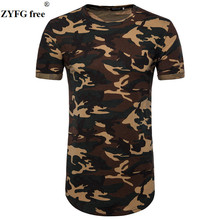 New Short Sleeve T-shirt Male Camo Slim O-neck Longline Casual Tshirt