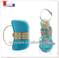 2013 new design lady shoe and matching bag Italian design in turkey blue
