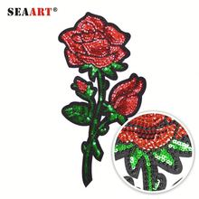 Red Sequin Beads Love Rose Custom Embroidered Patches