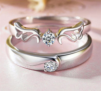 2018 Factory directly selling Angel Wings gem silver couple rings