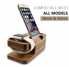 100% natural 2 in 1 wooden watch stand for iPhone for apple watch Bamboo Wood Charging Stand