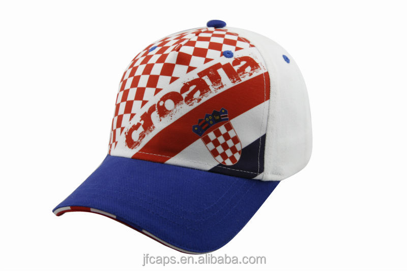 CROATIA printing comfortable south america style white cotton sport baseball hats and caps