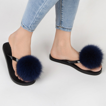 2018 Summer Blue Real Fox Fur Ball Lady Flip Flops Beach Slipper Woman Sandals