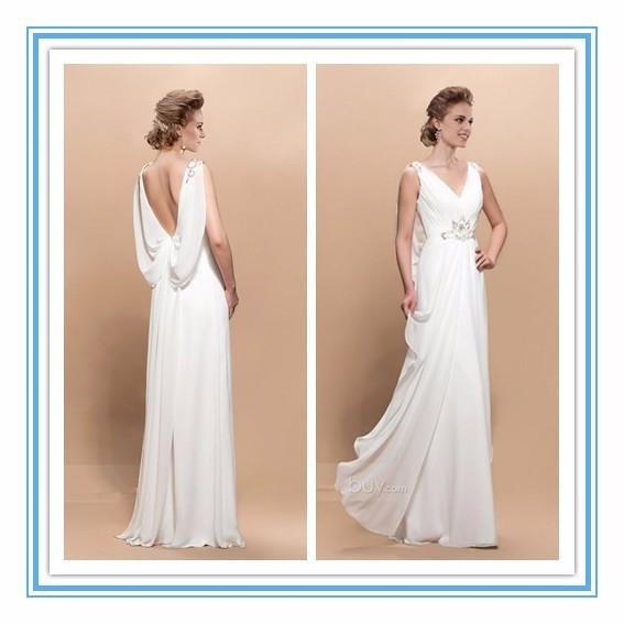 New Arrival Backless V-Nekline Satin Beading mother of the bride beach Dress wedding dress 2015(YASA-2001)