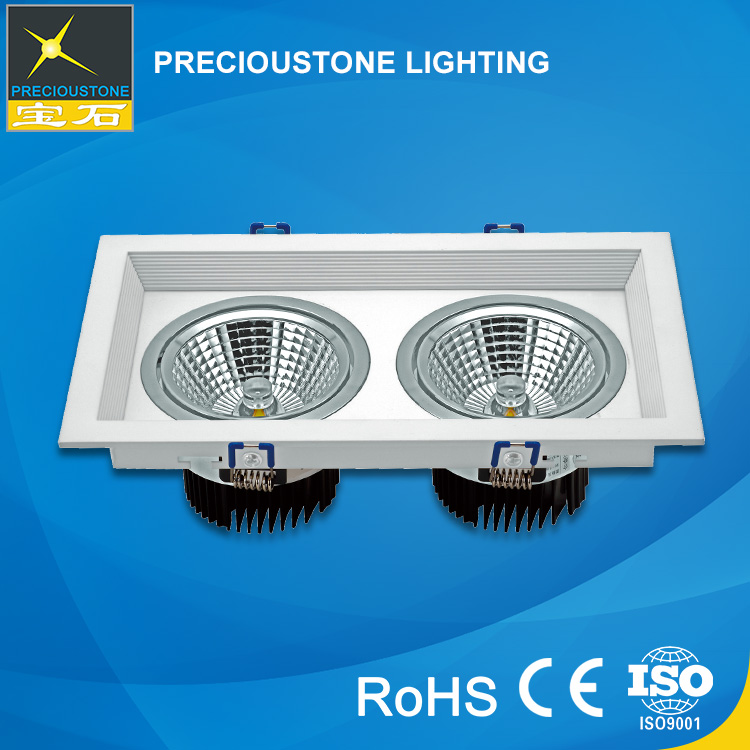 Double-Head 2*12W Embedded Led Grille Lamp Light Fixture