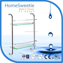 HomeSweetie Taiwan Glass Bathroom Shampoo Rack 2 Tier Glass Bathroom Shelf