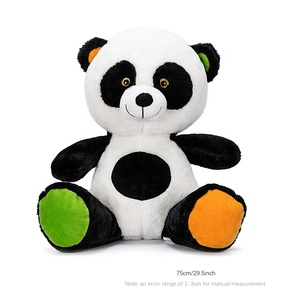 2019 brand new wholesale  Custom stuffed big eyes panda plush toy soft panda toy with green ears and feet