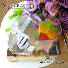 ISO9001 good quality silver plated bow octagon transparent container