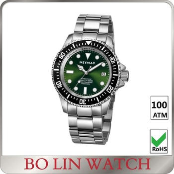 Mechanical Silver Sunray Green Dial Super Lume Diver Watch 100ATM