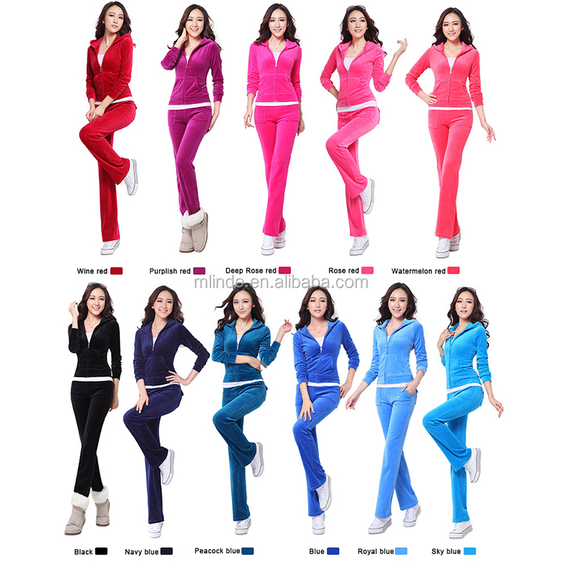 Women Winter Suits 2017 Christmas New Hoodies Women's Velour Tracksuit Set Female Sport suit Plus Size Two Piece set 10 Colors