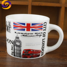 London UK tourism souvenir big ben bus logo print porcelain coffee mug
