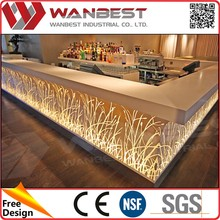 solid surface stone countertop restaurant Boat Shape Bar Counter for sale.
