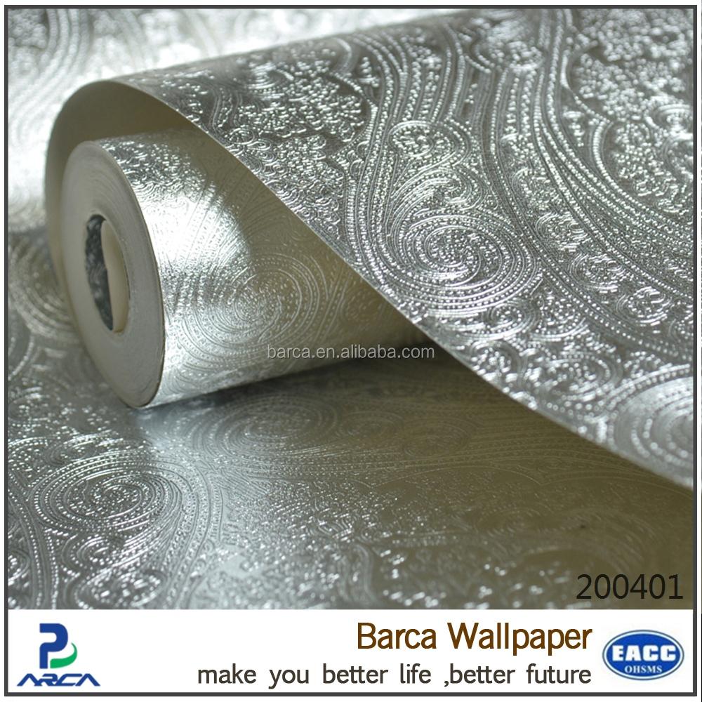 Barca 200401 umweltfreundliche 3d wei silber metallic pvc for 3d tapete silber