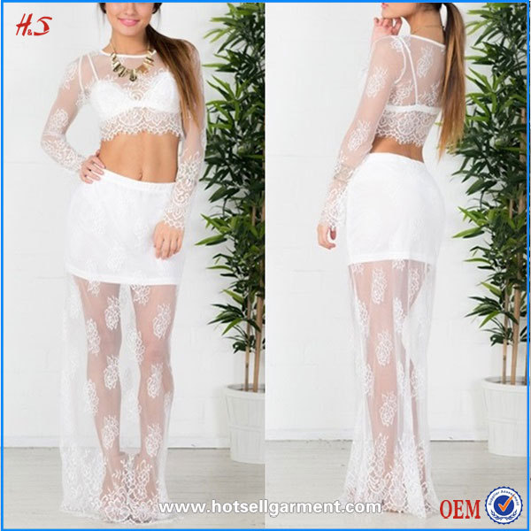 Online Shopping For Wholesale Clothing White Lace Two Piece Sexy Dress Long Sleeve Maxi Dresses For Women
