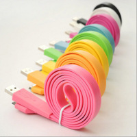 Colorful Flat Noodle USB Cable for iPhone 4 & 4S, iPhone 3GS/3G, iPad 2/iPad, iPod Touch