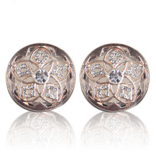 WH207 Rose Gold Flower Piercing Romantic Crystal Body Stainless Steel Ear Gauge Plug Flesh Tunnel Ear Expander