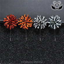 Wholesale Good Price Man Fabric Flower Brooch Insert Lapel Pin For Suits