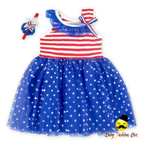 Formal Short Dresses Patterns Red White Stripe Blue Tulle Summer Party Baby Girl Dress