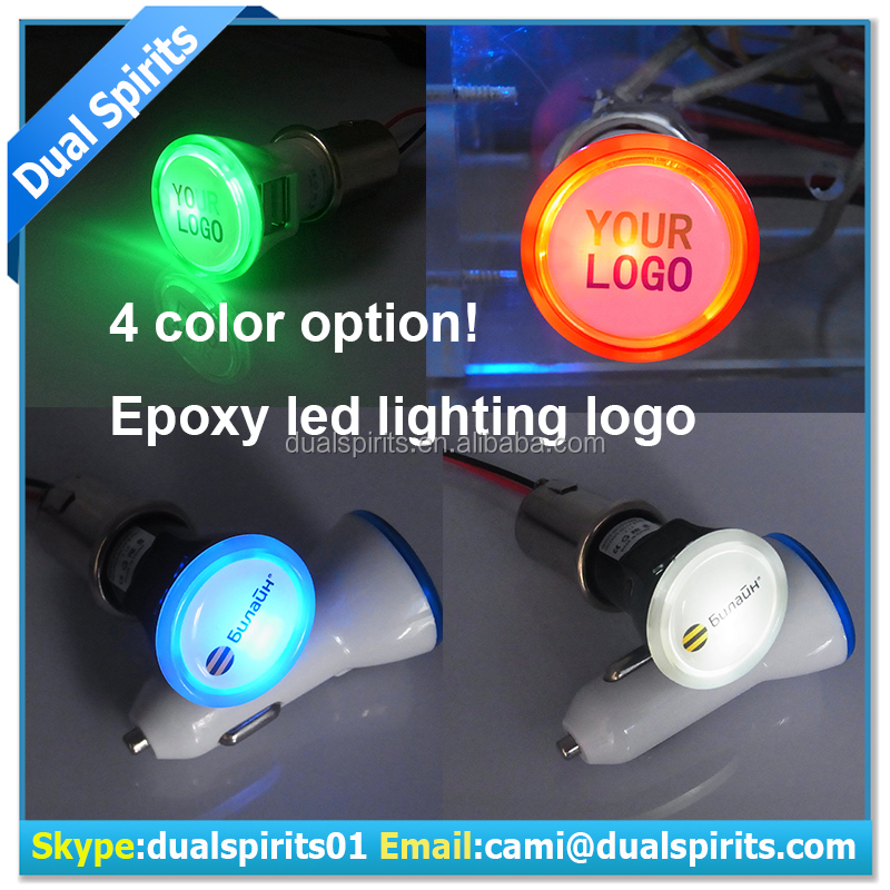 LED dome logo Dual USB Port 5V 2.1A USB Car Charger for Smart Phone Tablets usb car charger