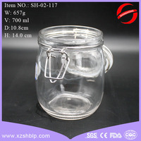storage glass jar with swing top, food glass jar with metal clip