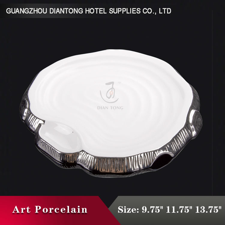 Chinese bulk personalized porcelain silver rim plate