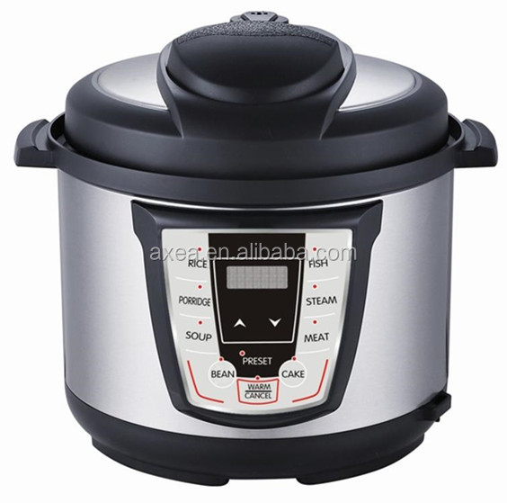 Multi-Functional Electric Pressure Cooker 6 Quart 8 Preset Settings 1000 Watt (Silver)