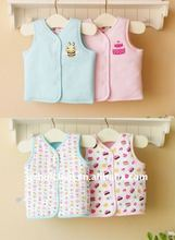 2011 winter baby clothing 100% cotton quilted vest