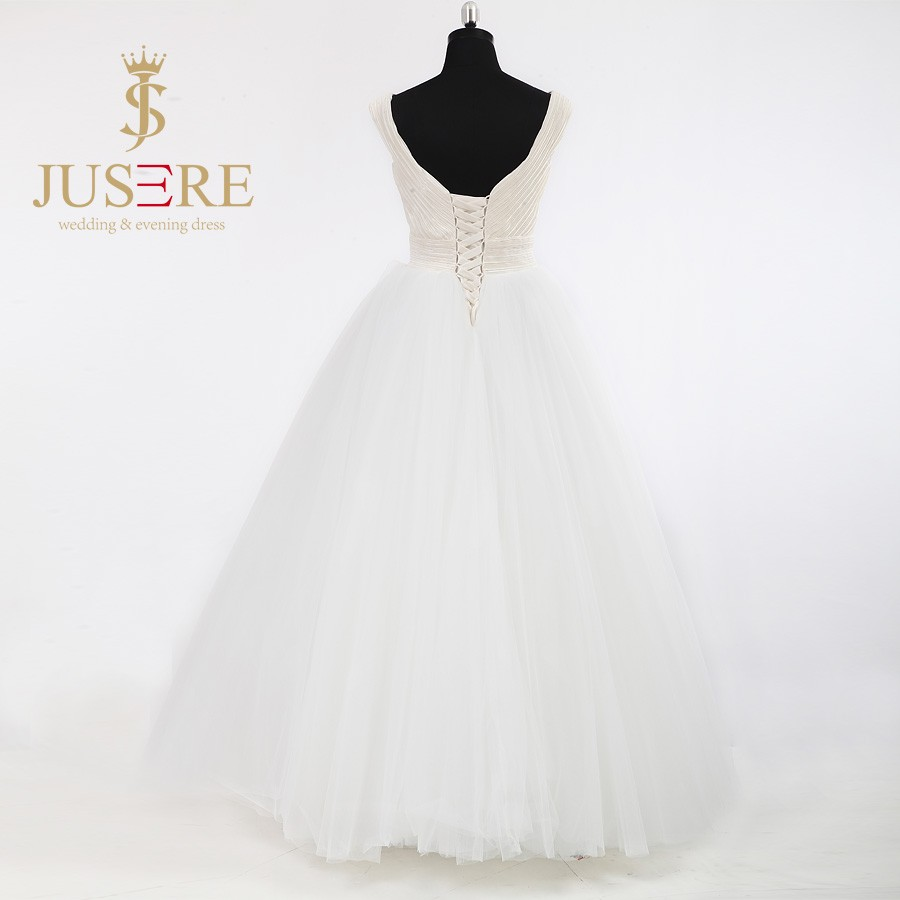 Newest A Line V Neck V Back Lace Up Criss Cross Pleat Tulle 2016 Wedding Dresses Floor Length