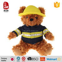 Lovely handmade stuffed plush toy bear with uniform