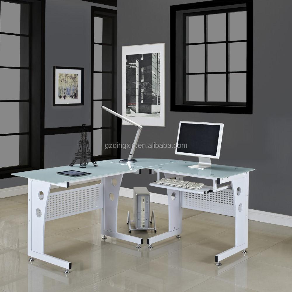 Glazen hoek computer bureau tafel pc zwart wit glas nieuwe l  vorm ...