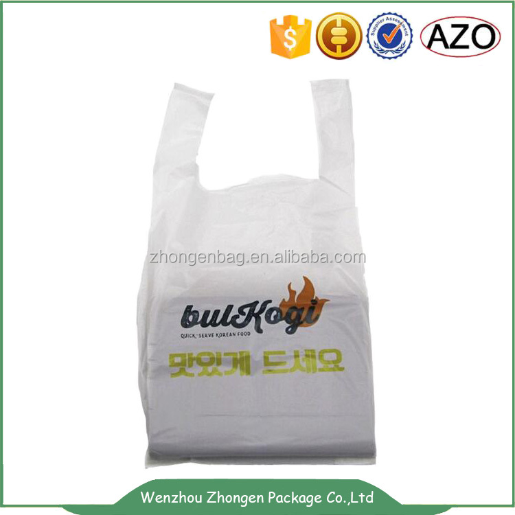 Market shopping handle plastic bag,easy to carry bag,t shirt shape pe packing bag