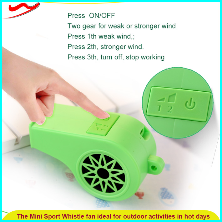 Safety whistle mini fan / ABS plastic Eco-friendly cheap electric small fan