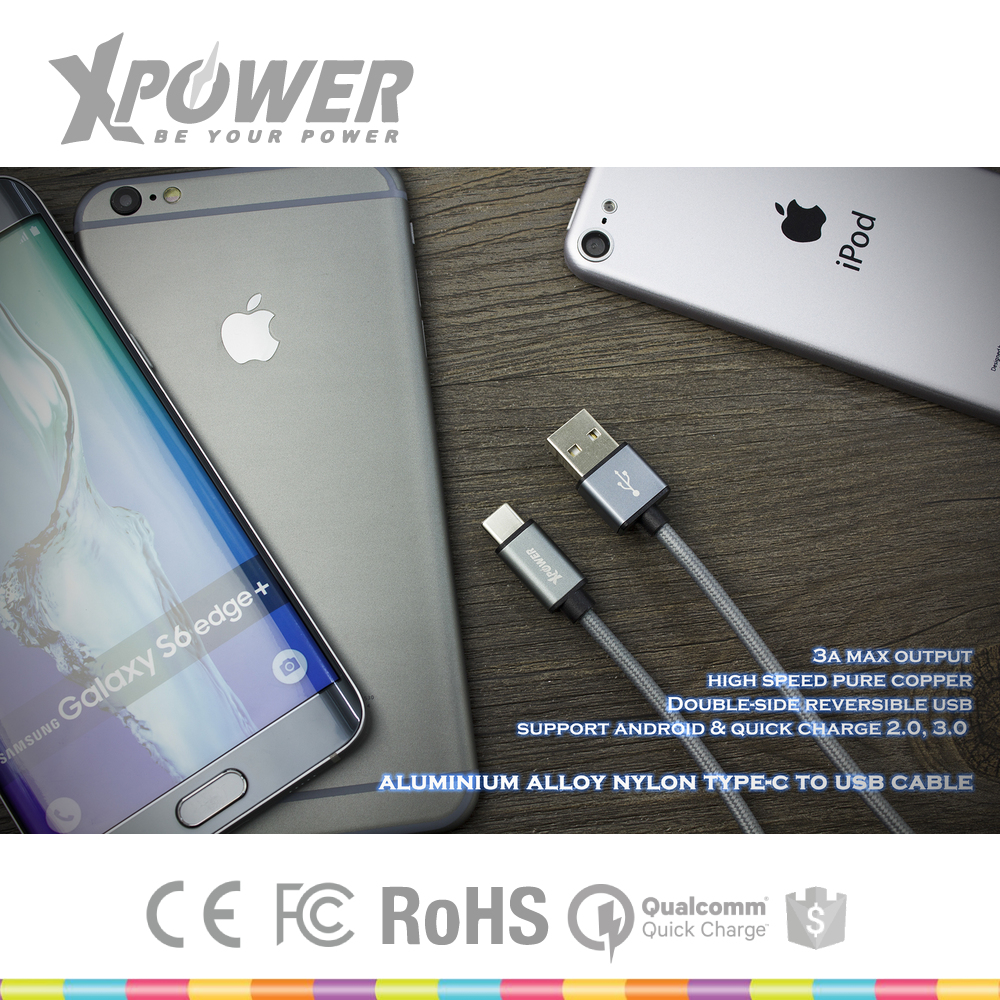 Durable Rohs Approved Quick Charge 3.0 Super Flexible Copper custom Color Type-C Charging Cable for Computer