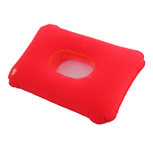 red PVC flocked safety design inflatable pillow with ear hole