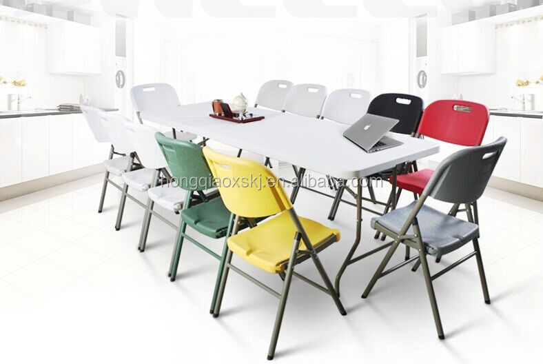 high quality new item 8ft plastic folding in half long table for wedding, dinning, party, picnic, camping, events