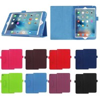 Colorful Wholesale Two Folding Litchi Texture PU Leather Case for iPad Mini 4 with stand