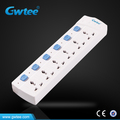 6 way universal electrical power strip with individual switch