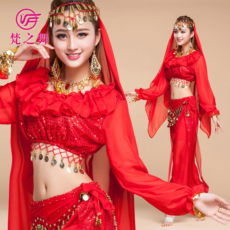 T-5082 New coming chiffon adult tribal belly dance top and pant set