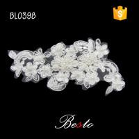 Embroidery white bridal dress flower lace applique