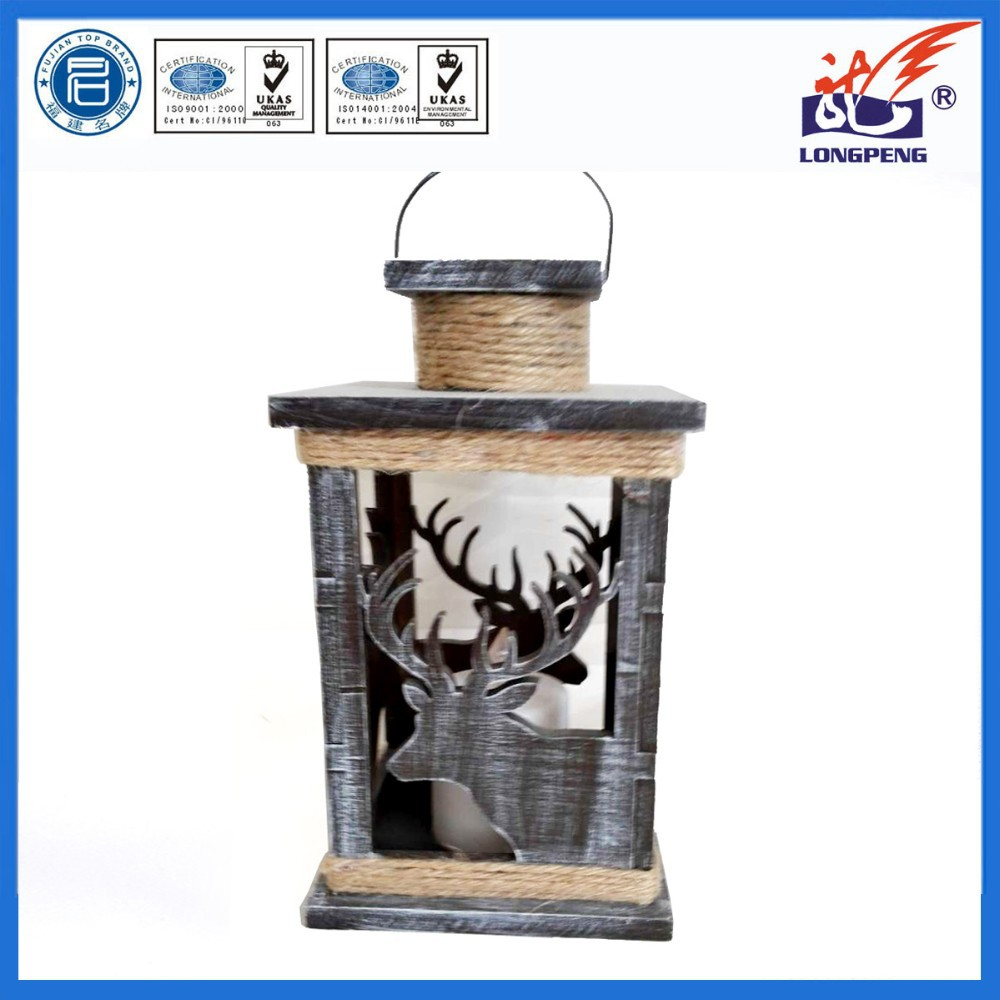 European style wooden christmas deer decorative LED lantern