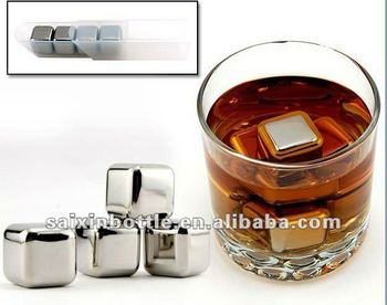 Bar Accessories Wine Chiller Whiskey Stones Stainless steel Ice Cube recycle usage