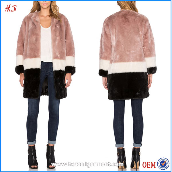 Dongguan City Wholesale Custom Stylish Coats and Jackets Women 2015 High Quality Colorblock Faux Fur Coat Jacket