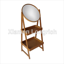 Bamboo Bathroom Rack with Round Mirror