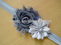 CF 0805 Baby party crown custom fashion satin flower rossete shabby chic headbands wholesale