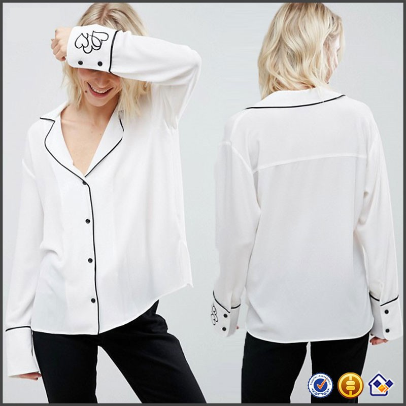 KY wholesale Pajama Blouse V-neck Contrast piped collar Button placket Embroidered Heart Cuff women tops and blouses