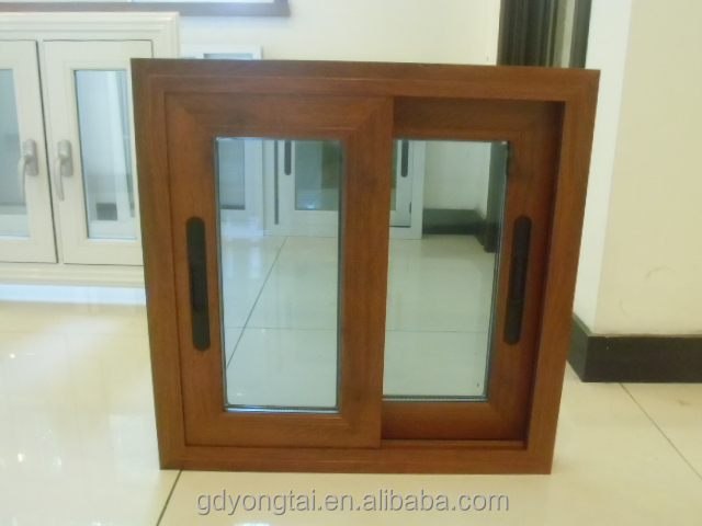 popular style aluminum sliding window made in China wooden <strong>grain</strong> finish double glass window with mosquito screen