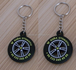 Tyre shape motorcycle rubber pvc keychain with coroporate logo