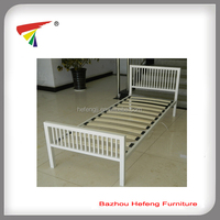 White wood slat bed bese metal single bed frame