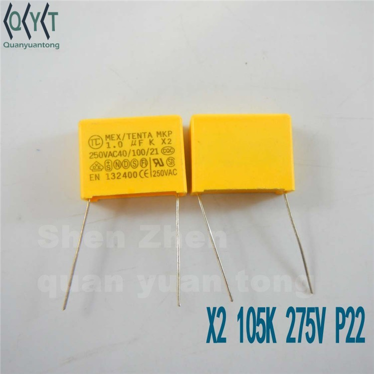 capacitors 275v x2 105K 22MM Safety capacitors MKP 1.0UF <strong>K</strong> X2 250VAC SIZE 26X19X10